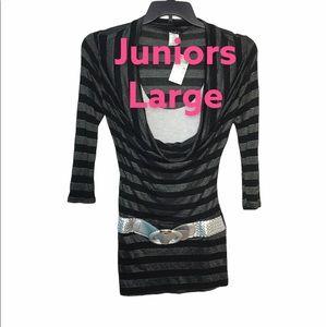 Deb L Shirt Top W/Belt Striped Black Gray NWT